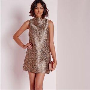 Missguided Mockneck Metallic Shift Dress mini